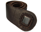 Womens Brown Leather Belt with Black Onyx Stone Inset