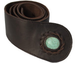 Womens Brown Leather Belt with Turquoise Stone Inset