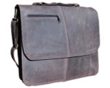 "MBX Leather Messenger Laptop Bag - 15"" Macbook Pro Bag - Dark Brown"