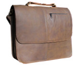 "MBX Leather Messenger Laptop Bag - 15"" Macbook Pro Bag - Chocolate Brown"