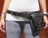 Brown Leather Belt Purse LMK Hip Pouch Waist Pack