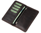 Big Leather Wallet and Phone Case Rugged Brown