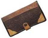 Big Organic Hemp Wallet With Natural Leather Trim Brown/Purple