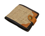 Organic Hemp Wallet With Natural Leather Trim Ecofriendly Fabric
