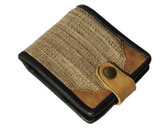 Nettle Fibre Bifold Wallet With Natural Leather Trim Ecofriendly Fabric