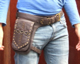 Leather Leg Holster Utility Belt Thigh Bag in Brown