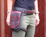 Leather Leg Holster Utility Belt Thigh Bag in Red and Brown