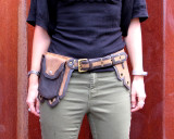 Leather Belt Bag Waist Pack Multipocket Two Tone Brown