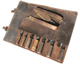 Leather Knife Roll Chefs Bag Hunter Leather - Khampa - Silver Buckle