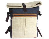 Organic Hemp Rucksack Backpack - Tuareg X - Natural & Blue V3