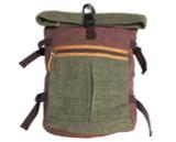 Organic Hemp Rucksack Backpack - Tuareg X - Green & Brown V1