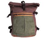 Organic Hemp Rucksack Backpack - Tuareg X - Green & Brown V2