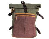 Organic Hemp Rucksack Backpack - Tuareg X - Green & Brown V3