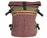Organic Hemp Rucksack Backpack - Tuareg X - Green & Brown V4