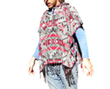 Poncho Shawl Geometrical Design Grey Red Black