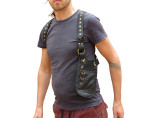 Leather Underarm Holster Bag Travel Pouch  - Black
