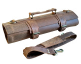 Leather Knife Roll Chefs Bag & Knife Bag - Tuareg - Brass Buckle