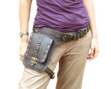 Steampunk Leather Holster Thigh Bag with Swing Lock - Dark Brown & Brass