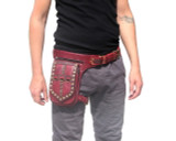 Red and Brown Leather Leg Holster Utility Belt Thigh Bag
