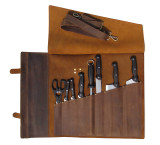 NMDC Leather Knife Roll Chef Bag Leather Knife Case - Brass Colour Fasteners