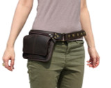 Leather Hip Bag Waist Pack Travel Belt in Brown ZP8