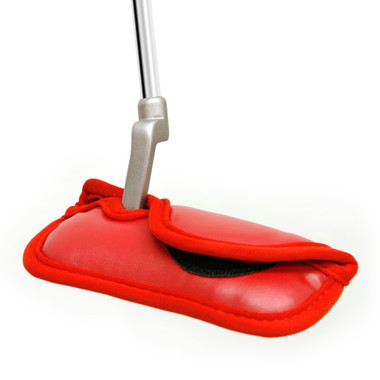 blade putter head cover, red synthetic leather, polyurethane headcover