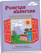Teacher or parent book for the Puertas Abiertas curriculum for kids learning Spanish