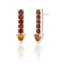 2.75 cts Trillion Citrine Round Garnet Earrings Style SE3072