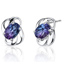 Classy 2.00 carats Alexandrite earrings in Sterling Silver Style SE6980