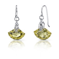 Spectacular Shell Cut 8.00 carats Lemon Quartz Fishhook Earrings Sterling Silver Style SE6988