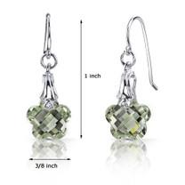 Blooming Flower Cut 7.00 carats Green Amethyst Fishhook Earrings Sterling Silver Style SE6996