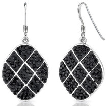 Midnight Mystery: Sterling Silver and Black Checkerboard Swarovski Crystal Dangle Earrings Style SE7066