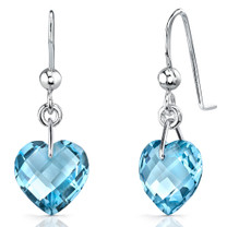 Trendy 8.25 carats Heart Shape Genuine Swiss Blue Topaz earrings in Sterling Silver Style SE7088