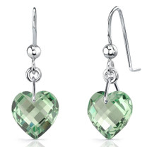 Brilliant 6.75 carats Heart Shape Green Amethyst earrings in Sterling Silver Style SE7092