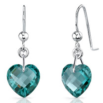Stylish 9.50 carats Heart Shape Green Spinel earrings in Sterling Silver Style SE7094
