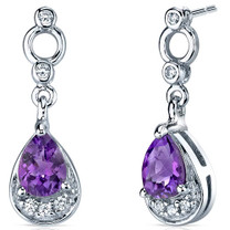 Simply Classy 1.00 Carats Amethyst Dangle Earrings in Sterling Silver Style SE7138