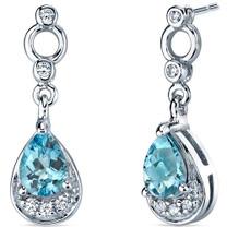 Simply Classy 1.50 Carats Swiss Blue Topaz Dangle Earrings in Sterling Silver Style SE7144
