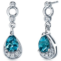 Simply Classy 1.50 Carats London Blue Topaz Dangle Earrings in Sterling Silver Style SE7146