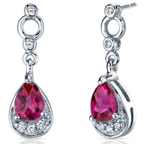 Simply Classy 1.50 Carats Ruby Dangle Earrings in Sterling Silver Style SE7148