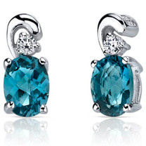 Sleek and Radiant 1.50 Carats London Blue Topaz Earrings in Sterling Silver Style SE7162