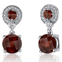 Refined Elegance 5.50 Carats Garnet Dangle Earrings in Sterling Silver Style SE7172