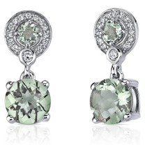 Refined Elegance 3.50 Carats Green Amethyst Dangle Earrings in Sterling Silver Style SE7180