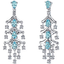 Captivating Seduction 4.00 Carats Swiss Blue Topaz Dangle Earrings in Sterling Silver Style SE7190