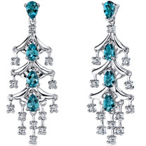 Captivating Seduction 4.00 Carats London Blue Topaz Dangle Earrings in Sterling Silver Style SE7192