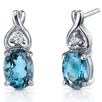Classy Style 3.00 Carats London Blue Topaz Oval Cut CZ Earrings in Sterling Silver Style SE7212