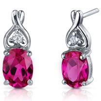 Classy Style 3.50 Carats Ruby Oval Cut CZ Earrings in Sterling Silver Style SE7214