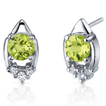 Majestic Charm 1.50 Carats Peridot Round Cut CZ Earrings in Sterling Silver Style SE7298