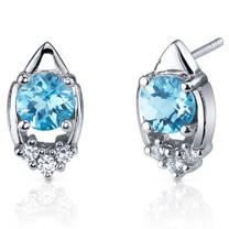 Majestic Charm 2.00 Carats Swiss Blue Topaz Round Cut CZ Earrings in Sterling Silver Style SE7300