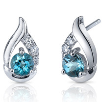 Radiant Teardrop 1.00 Carats London Blue Topaz Round Cut CZ Earrings in Sterling Silver Style SE7320