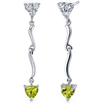 Brilliant Love 1.50 Carats Peridot Heart Shape Dangle CZ Earrings in Sterling Silver Style SE7334